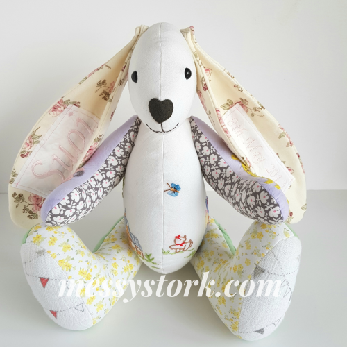 Designer Clothes Keepsake Bunny, made using a My Fabric Heaven pattern