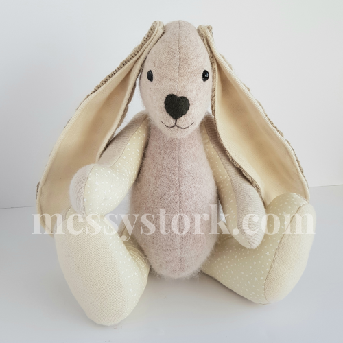 Memory Bunny and Quilt – made from Shawls and Cardigans
