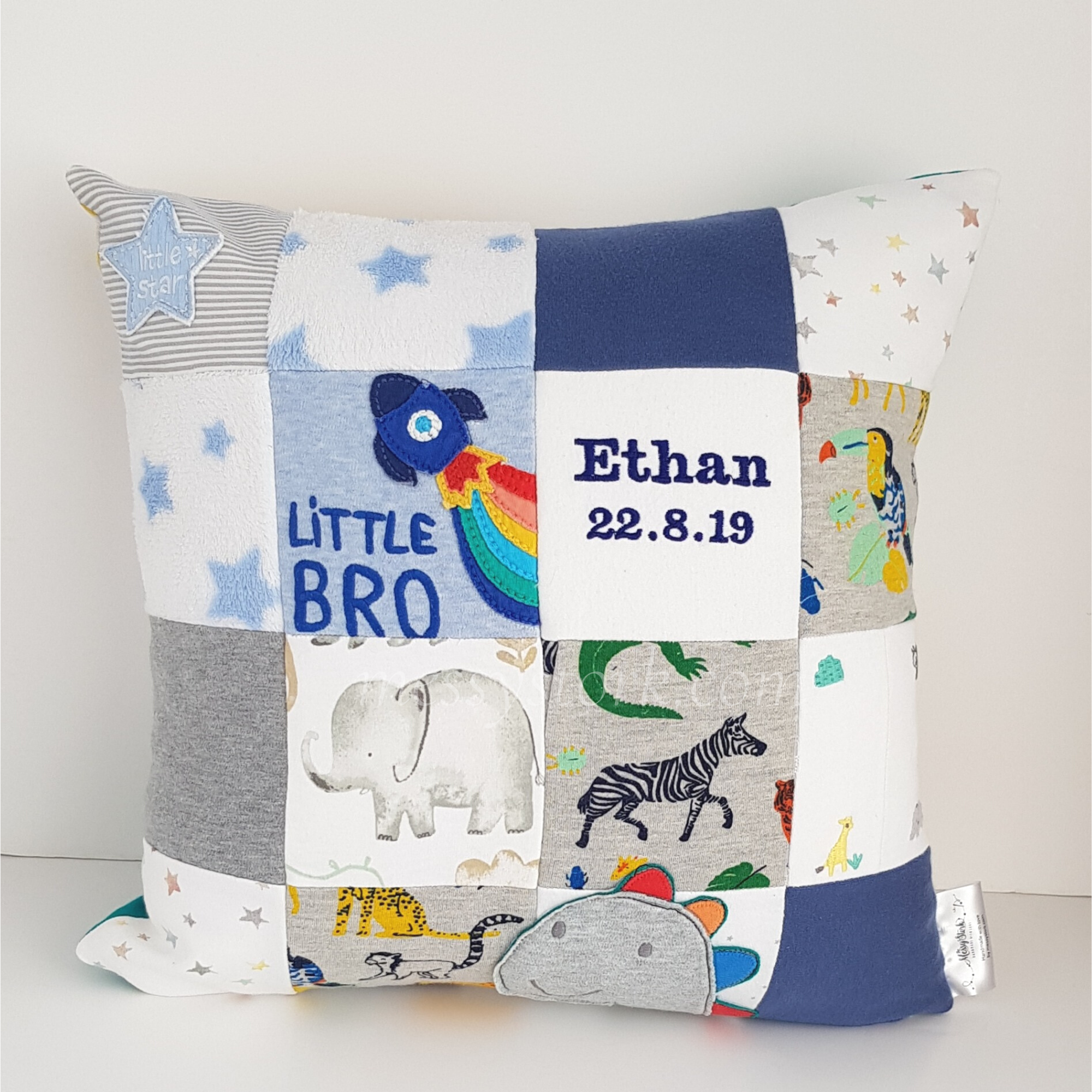 Keepsake Cushion – made from Ethan's baby clothes