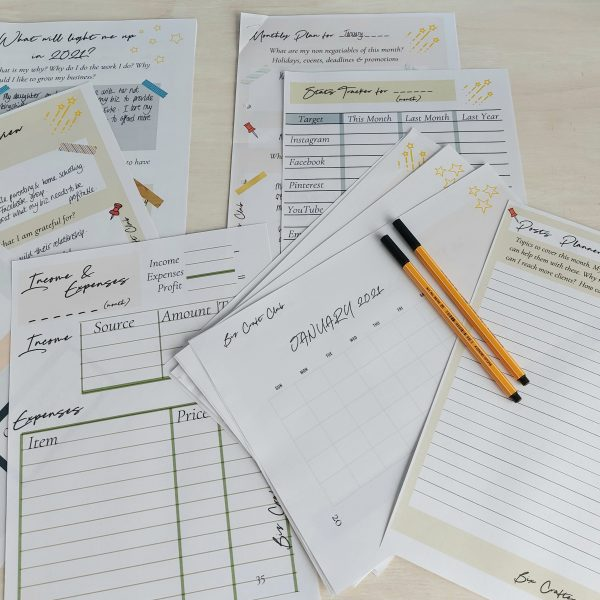Downloadable craft business planner
