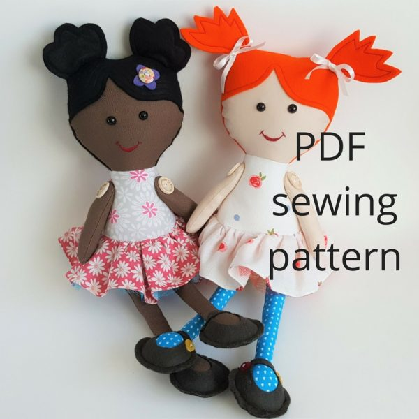 downloadable rag doll sewing pattern
