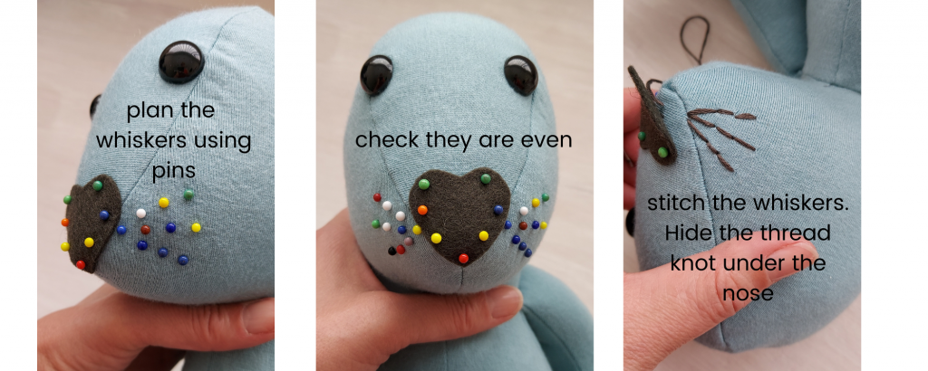 how to sew whiskers on a mouse sewing pattern